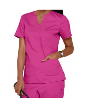 Healing Hands Purple Label stretch Jaclyn notched v-neck crossover scrub top - Fuchsia