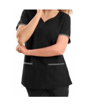 Healing Hands Purple Label Jamie v-neck modern fit scrub top - Black/pewter
