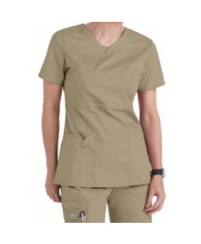 Cherokee Workwear Core Stretch v-neck modern fit scrub top - Dark Khaki
