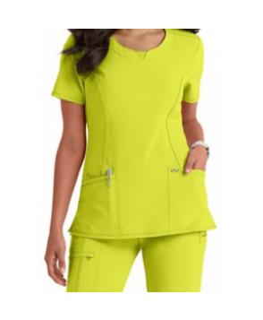 Infinity by Cherokee solid round neck scrub top with Certainty - Citrus