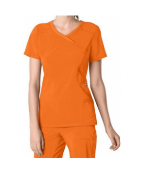 Infinity by Cherokee solid mock wrap scrub top with Certainty - Orangeade