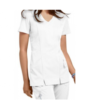 NrG by Barco -pocket shaped v-neck scrub top - White