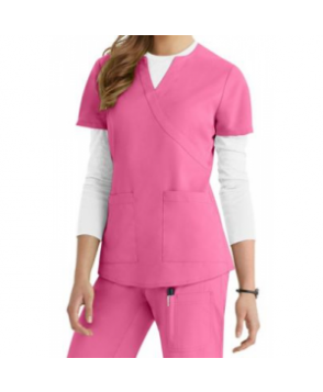 NrG by Barco -pocket mock-wrap scrub top - Azalea