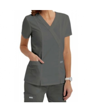 Greys Anatomy  pocket mock wrap scrub top - Nickel -