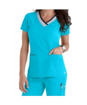 Greys Anatomy color block contrast 3 pocket scrub top - Turquoise/moonstruck/black