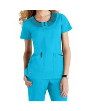 Greys Anatomy Active round neck mesh trim scrub top - Turquoise/black