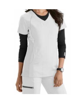 Greys Anatomy Active v-neck color block scrub top - White