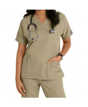 Cherokee Workwear v-neck scrub top - Dark Khaki