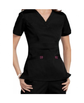 Cherokee Workwear Core Stretch mock-wrap scrub top - Black/shocking pink