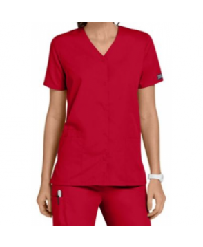 Cherokee Workwear snap front scrub top - Red
