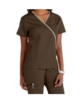 Cherokee Workwear contrast trim scrub top - Chocolate/Khaki