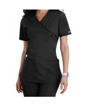 Cherokee Workwear mock-wrap scrub top - Black