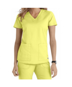 Greys Anatomy v-neck -pocket scrub top - Citron