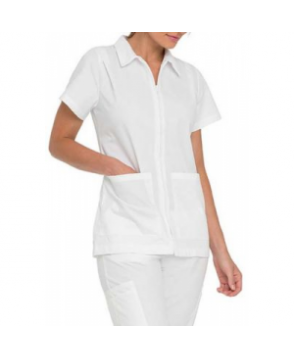 Landau student scrub top with pleated shoulders - White