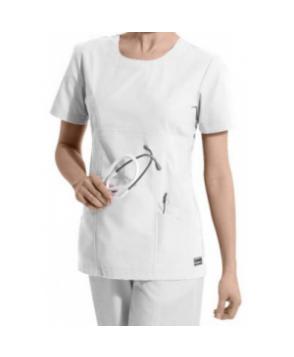 Landau antimicrobial scoop neck scrub top - White
