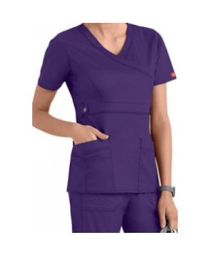 Dickies Gen Flex Youtility junior fit mock-wrap scrub top - Grape