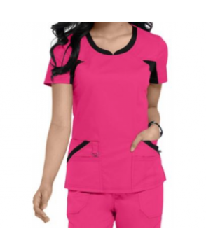 Dickies Performance System v-neck scrub top - Hot Pink/black