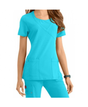 Dickies Xtreme Stretch mock-wrap scrub top - Icy Turquoise