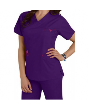 Med Couture Signature v-neck scrub top - Imperial/Berry