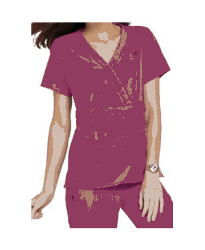 Med Couture Gold Milan crossover v-neck scrub top - Jewel/Raspberry