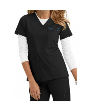 Med Couture Heidi modern fit v-neck scrub top - Black/pacific