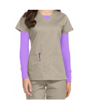 MC by Med Couture Olivia v-neck scrub top - Khaki/Purple Haze