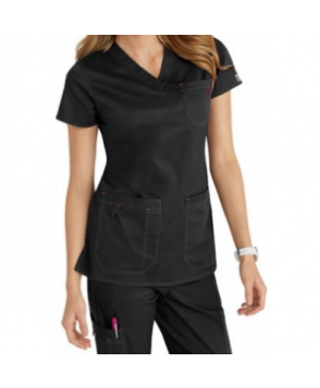 MC by Med Couture Niki v-neck solid scrub top - Black/Raspberry