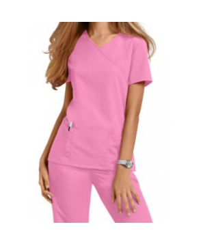 Urbane Ultimate Sophie mock-wrap scrub top - pixie pink