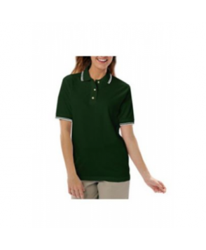 Blue Generation ladies polo with tipped collar - Hunter/Cream