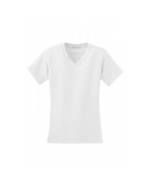 Ladies modern stretch v-neck short sleeve shirt - White