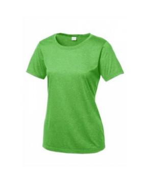 Ladies sport-tek heather contender scoop neck tee - Forest Green Heather