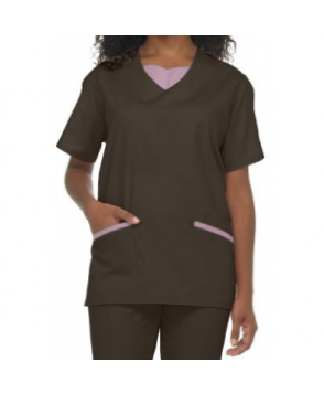 Natural Uniforms tunic solid two piece scrub set - Chocolate/pink