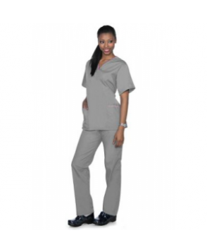 Natural Uniforms rounded v-neck two piece scrub set - Grey/pink