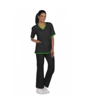 Natural Uniforms contrast two-piece scrub set - Black/lime