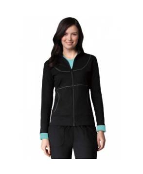 Greys Anatomy Active stretch French terry scrub jacket - Black/Splash