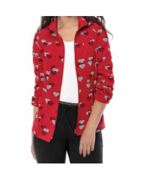 HeartSoul Houndstooth Hearts print scrub jacket - Houndstooth Hearts