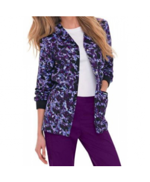 Landau Smart Stretch Purple Reign print scrub jacket - Purple Reign