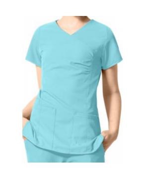 WonderWink Easy Fit shirred fashion wrap scrub top - Capri blue