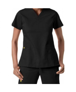 WonderWink Utility Girl v-neck multi pocket scrub top - Black