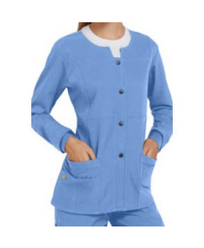 WonderWink Four-Stretch button front scrub jacket - Ceil