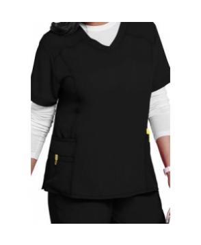 WonderWink Plus curved v-neck scrub top - Black X