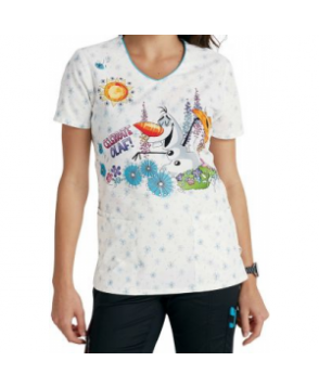 Cherokee Tooniforms Celebrate Olaf print scrub top - Celebrate Olaf
