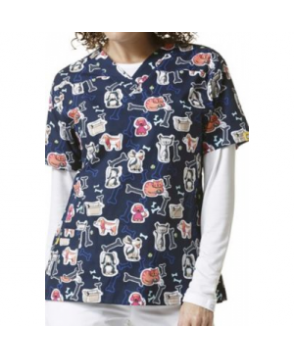WonderWink Origins Furrever Fwends v-neck print scrub top - Furrever Fwends