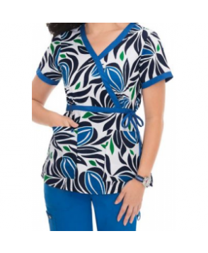 Koi Kathryn Abstract Blues mock wrap print scrub top - Abstract Blues