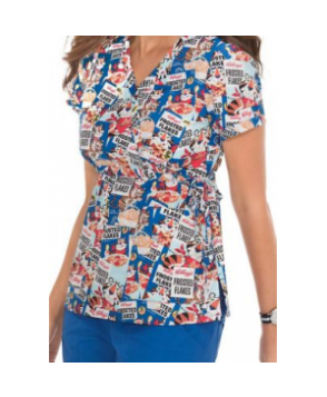 Koi Kathryn Frosted Flakes mock wrap print scrub top - Frosted Flakes