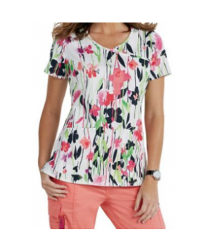 Beyond Scrubs Garden Party y-neck print scrub top - Garden Party Coral