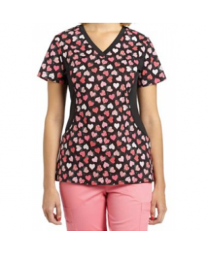 White Cross Forever Hearts print scrub top - Forever Hearts