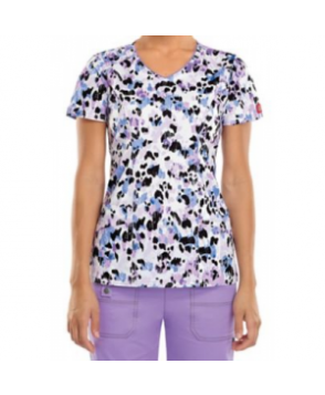 Dickies Gen Flex Purrfectly Painted v-neck print scrub top - Purrfectly Painted
