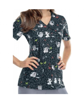 Cherokee Furry Friends print scrub top - Furry Friends