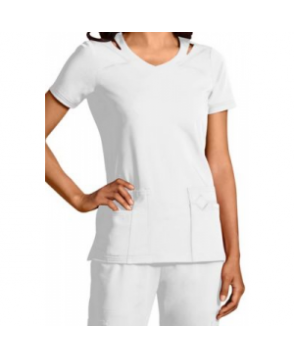 Sapphire v-neck with shoulder cut-outs scrub top with Certainty - White